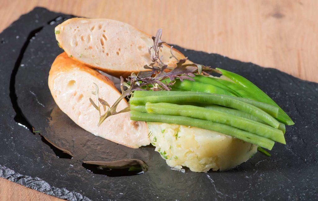 Écrasé de pommes de terre Chermoula (pesto marocain) et sa blanche à griller au munster