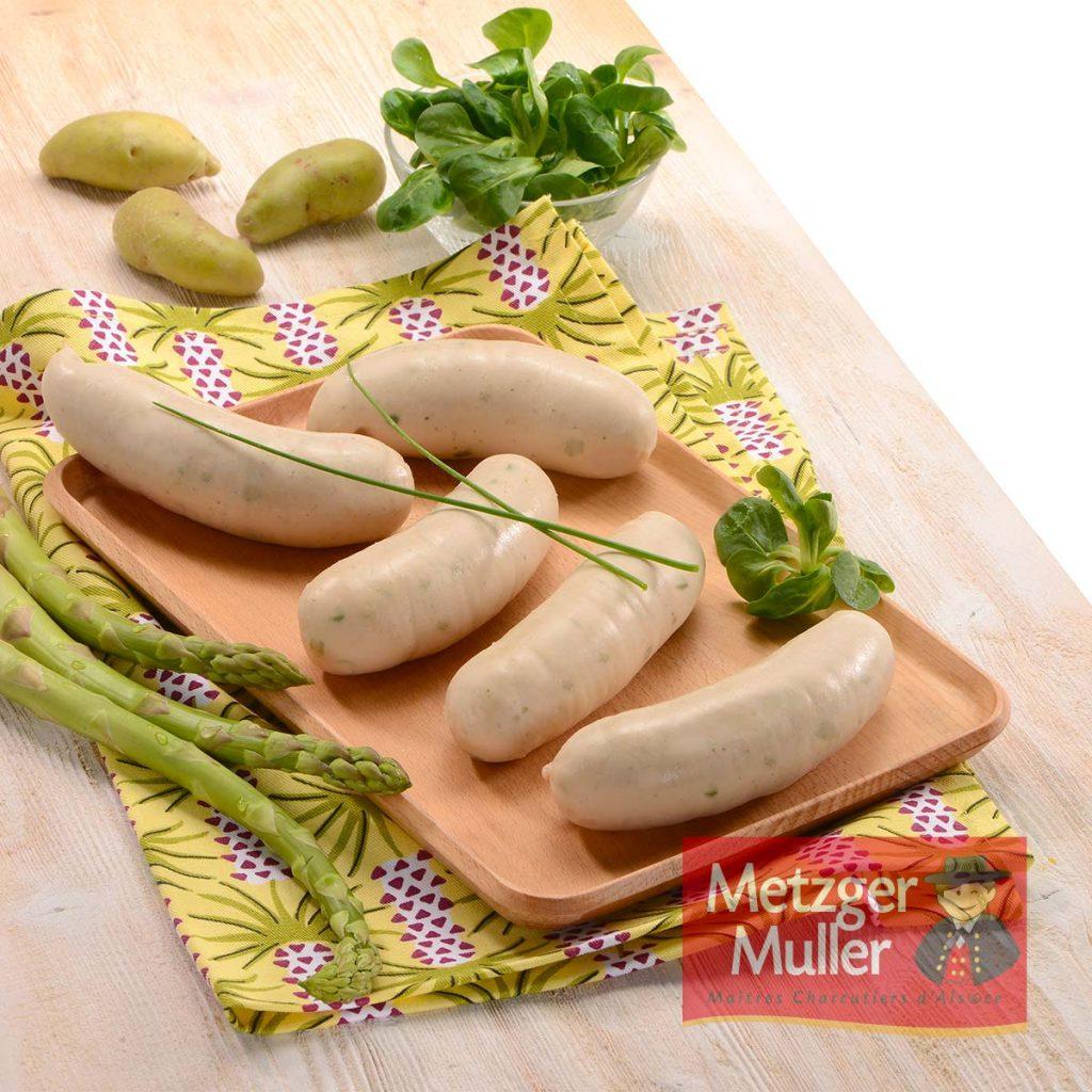 Metzger Muller - Saucisse blanche à griller aux asperges